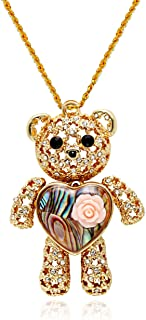 Princess Bear Pendant Love Heart Abalone Shell Necklace Women Jewelry
