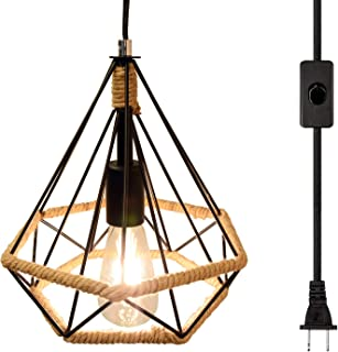 LuFun Industrial Plug in Pendant Light,Plug in Hanging Lamp with 16.4ft Hanging Cord and On/Off Switch,Mini Chandeliers with Metal Cage for Kitchen Island Bedroom Bar