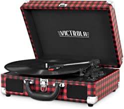 Victrola Vintage 3-Speed Bluetooth Suitcase Turntable with Speakers, Red and Black