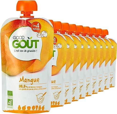 Good Goût - BIO - Gourde de Purée de Fruits Mangue dès 4 Mois 120 g - Pack de 10