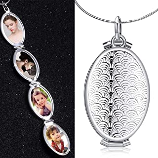TureLaugh Fish Scale Oval Locket 4 Slot Photo Frame Pendant Necklace That Holds Pictures Locket Jewelry Gift Solid for Kids,Women,Boys