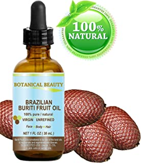 "Brazilian BURITI FRUIT OIL 100% Pure / Natural / Cold Pressed Carrier Oil / Undiluted. For Face, Body, Hair, Lip and Nail Care. ""One the richest natural sources of vitamin A, E and C."" From the Amazon Rainforest. (1 fl.oz-30ml.)"