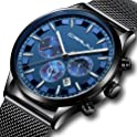 CRRJU Men Stainless Steel Quartz Waterproof Watch