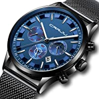 CRRJU Men Stainless Steel Quartz Waterproof Watch (Multiple Options)