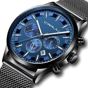 CRRJU Men Stainless Steel Quartz Waterproof Watch