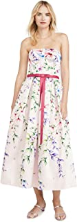 Marchesa Notte Women's Strapless Printed Mikado Corseted Gown