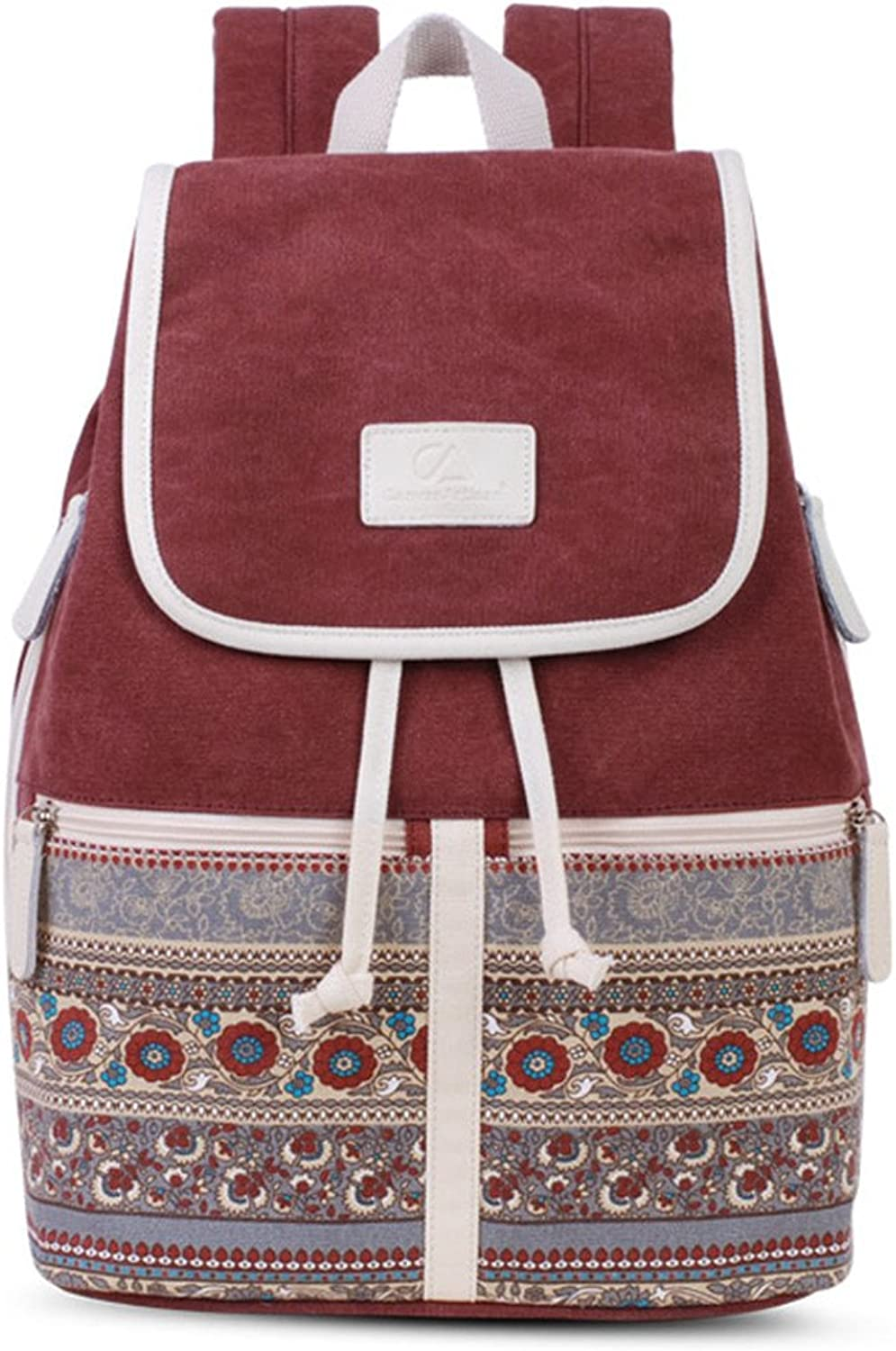 Canvas Women Backpack Casual College Bookbag Female Retro Stylish Daily Travel Laptop Backpacks Bag Wine red 13 inch