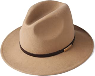 Fedora Hats for Men Women 100% Australian Wool Felt Wide Brim Hat Leather Belt Crushable Packable