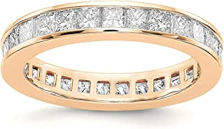 PAVOI 14K Gold Plated Cubic Zirconia Rings   Princess Cut Eternity Bands   Stackable Gold Rings for Women