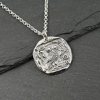 925 Sterling Silver Athena Owl Necklace greek mythology jewelry women