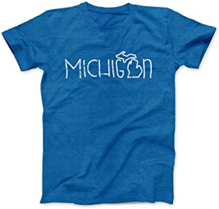 Nudge Printing Michigan Doodle Writing Ultra Soft T-Shirt (XXL, Royal Blue)