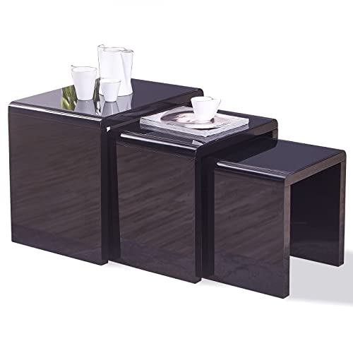 3de6882ef4 mecor Nest of 3 Tables High Gloss Nesting Tables Wood Coffee Table  Multi-functional Side