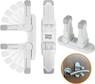 TONYBOO Baby Safety Door/Window Lever Lock (3-Pack), Child Proof Handle Lock, Double Lock Design, Strong Adhesive, Prevent...