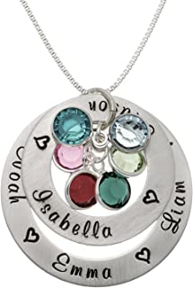 AJ's Collection Personalized My Loves Sterling Silver Necklace. Customize 2 Round Charms with birthstones. Choice of Sterling Silver Chain for Mothers. Keep Your Loved Ones Close to Your Heart.