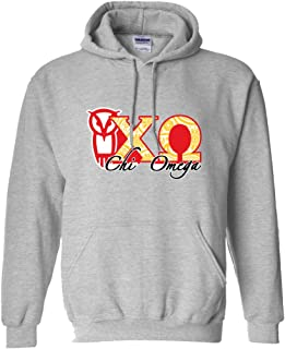 VictoryStore Apparel - Chi Omega Paisley Greek Letters Hooded Sweatshirt, Large, Sport Gray