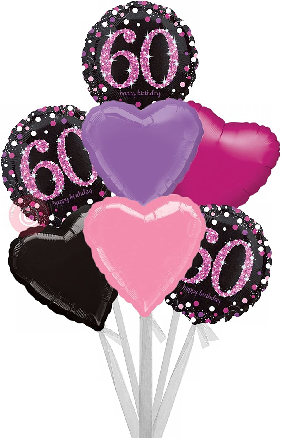 Num 60 Pink Celebration 60 Happy Birthday  Inflated Birthday Helium Balloon Delivered in a Box  Bigger Bouquet  7 Balloons  Bloonaway