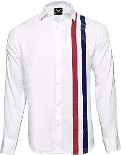 WILSON MARTIN Men's Casual White Designer Printed Cotton Shirts for Men
