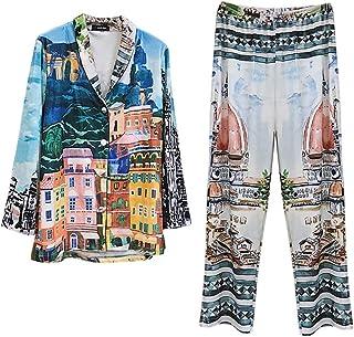 パジャマスーツ、ベルベットパジャマ秋と冬のレトロプリント長いベルベットの家庭用服パジャマの男性