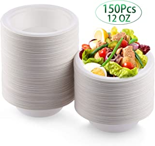 Fuyit 150 Count Disposable Bowl, 12 oz, Natural Compostable Biodegradable Sugarcane Paper Soup Bowls, Eco-Friendly, Microwavable and Leakproof Tableware for Hot and Cold Foods (White)