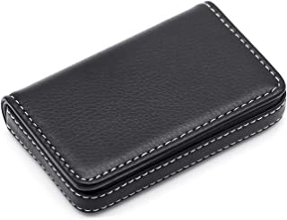 Storite Stitched PU Leather Credit Debit Business Card Holder (Black, 100 x 14 x 65 mm)