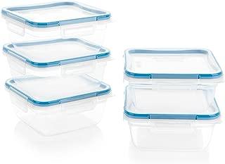 Snapware 1136621 Total Solution Square Plastic Meal Prep Set (10-Piece, BPA-Free Lids)