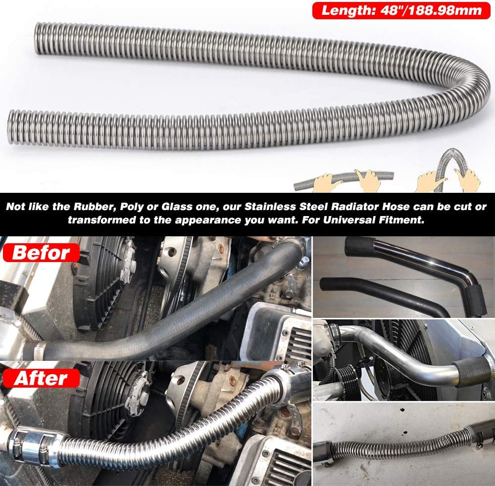 Hypertune Universal 48 Stainless Steel Radiator Flexible Coolant Water Hose Kit W//Cap Clamp 1.25 1.5 1.75 Silver