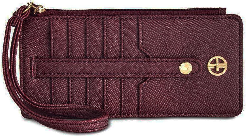 Giani Bernini Womens Saffiano Faux Leather Tab Card Case Red O S