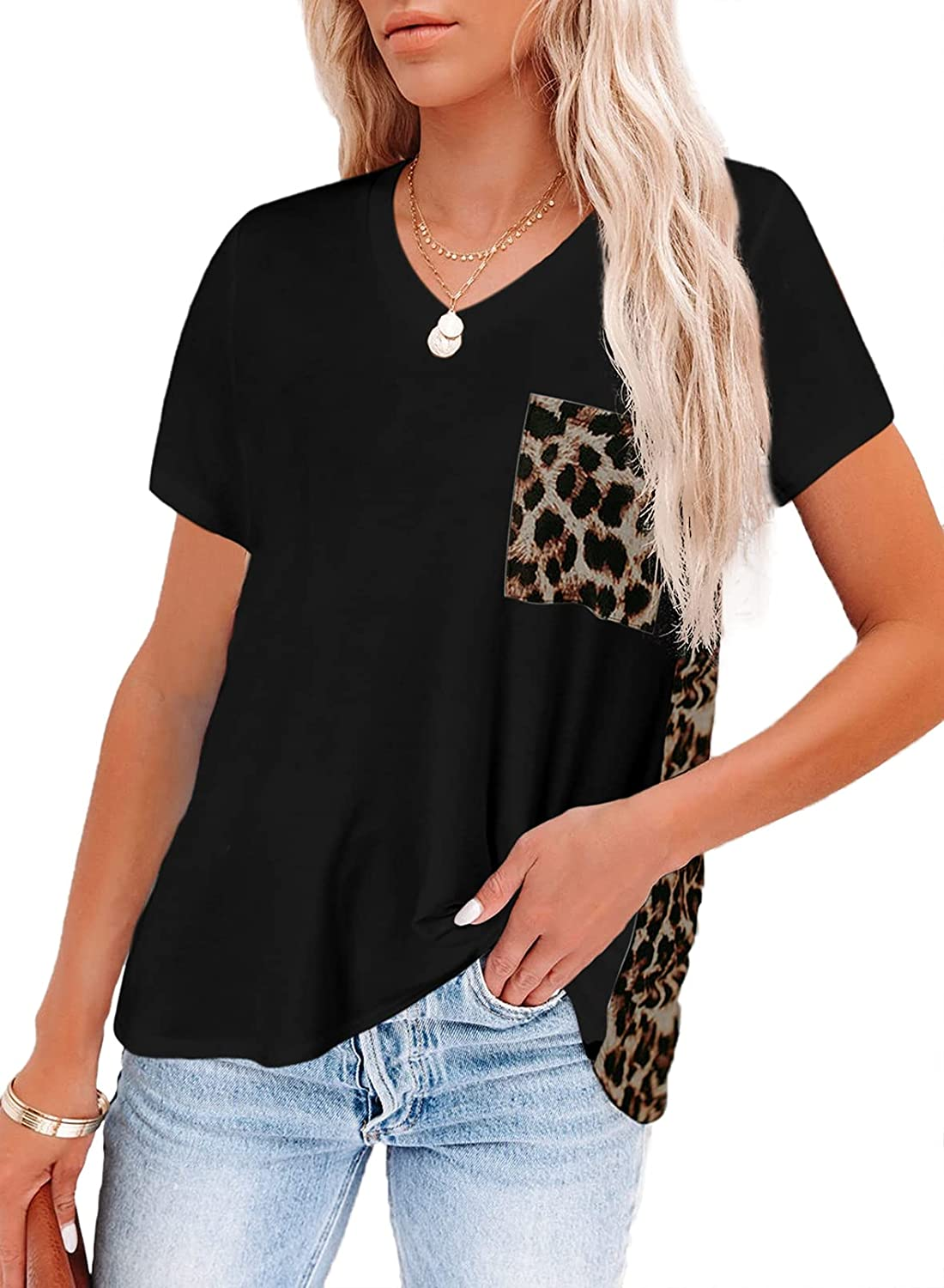Chase Secret Women's Crew Neck Leopard Color Block Short Top Casual Loose Blouse Shirts with Pocket
