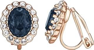 Bur gundy Clip on Earrings for Women 18k Rose GP Crystal Invisible Clip Earrings non Pierced Earring