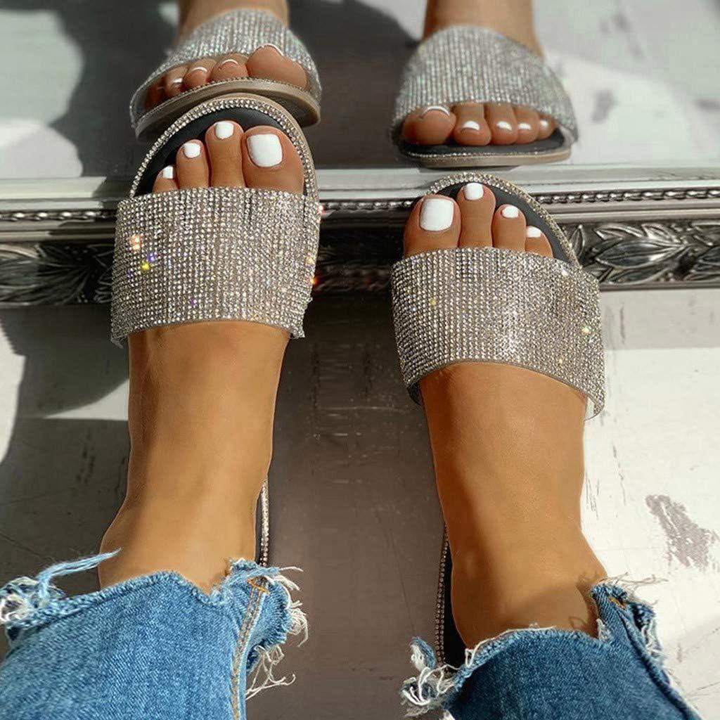 Women's Slip on Sandals Slide Glitter Bling Casual Platform Sandal Flat Open Toe Sparkle Slides