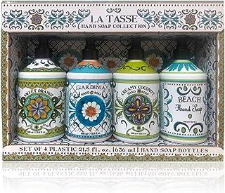 La Tasse Hand Soap, 4-pack Scents: (1) Sweet Orange, (1) Gardenia, (1) Creamy Coconut, (1) Beach, 21.5 FL OZ Each