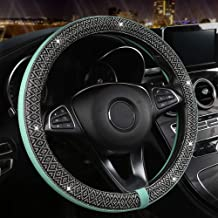Black Panther Bling Bling Steering Wheel Cover for Women Girls, Glitter Diamond Leather Steering Wheel Protector Universal Fit 15 Inches - Mint Blue