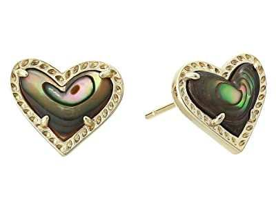 Kendra Scott Ari Heart Stud Earrings (Gold Abalone Shell) Earring
