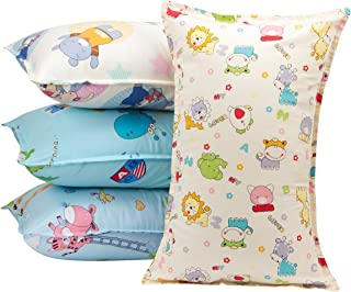 """Biubee 4 Packs (14""""X 21"""") Toddler Pillowcases - Fits Pillows Sized 12x16, 13x18 or 14x19, Natural Organic Cotton Pillow Cover Envelop Style for Baby, Infant and Kids"""