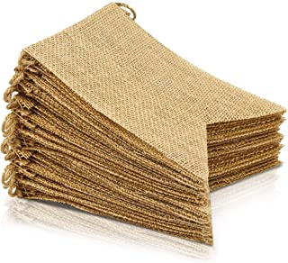 LEOBRO 48 Pcs Burlap Banner, 30 Ft Swallowtail Flag, DIY Decoration for Holidays, Wedding, Camping, Party and Any Occasion Shipping by FBA