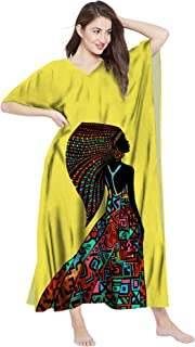 RADANYA Womens Cotton Kaftan Dress Tunic Long Maxi Kimono Caftan African Print