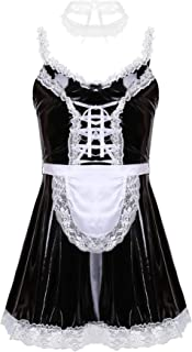 easyforever Mens Shiny Metallic Cosplay Outfits Lingerie French Maid Costume Sissy Maid Dress with Apron