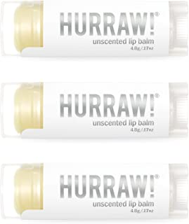 Hurraw! Unscented Lip Balm, 3 Pack: Organic, Certified Vegan, Cruelty and Gluten Free. Non-GMO, 100% Natural Ingredients. ...