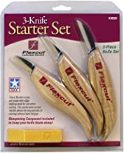 Flexcut Carving Knives, Starter Set, with Ergonomic Handles and Carbon Steel Blades, Set of 3 (KN500)