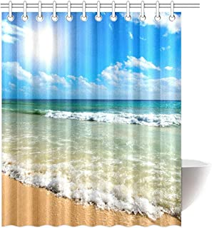 FMSHPON Summer Beach Blue Sea Palm Tree Sunshine Shower Curtain 60x72 Inches