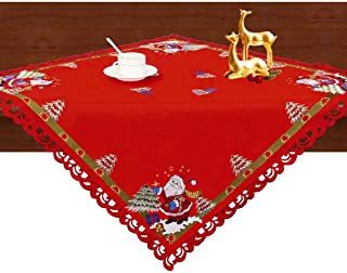 Simhomsen Small Embroidered Christmas Holiday Santa Clause Tablecloths, Toppers, Tablecovers for End Table, Tea Table, Coffee Table and Nightstand (33 × 33 Inch)