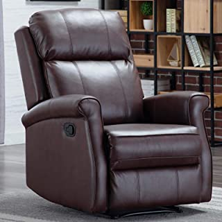 CANMOV Manual Leather Recliner Chair, Classic and Traditional Reclining Chair with Round Arms and Overstuffed Back, Brown-01