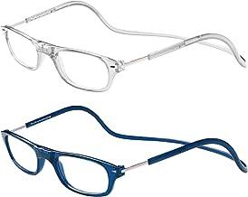 TBOC Pack: Gafas de Lectura Presbicia Vista Cansada – (Dos Unidades) Graduadas +3.00 Dioptrías Montura Transparente y Azul Hombre Mujer Imantadas Plegables Lentes Aumento Leer Ver Cerca Cuello Imán
