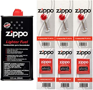 Zippo Gift Set - 12 Fl.oz Fluid Fuel and 3 Wick Card & 3 Flint Card (18 Flints) Bundle with Microfiber Cleaning Cloths