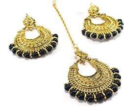 Ethnic Bollywood Style Indian Wedding Bridal Pakistani Gold Plated Pearl Maang Tikka Fore Head Chain Jewelry with Earrings Set for Women