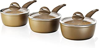 TOWER Cerastone Forged Aluminium Saucepan Set with Easy Clean Non-Stick Ceramic Coating, 3 Piece - Gold