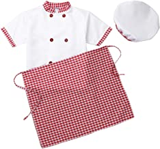 CHICTRY Kids Children Classic Chief Kitchen Cooking Costumes Jacket +Apron+ Hat+Hairpin 4pcs Outfits Set