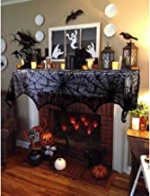 FeChiX Black Lace Fireplace Scarf Halloween Decoration Spiderweb Fireplace Mantle Scarf Cover Festive Party Supplies 18 x 96 inch