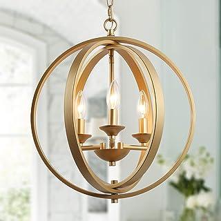 KSANA Gold Orb Chandelier Modern Globe 3 Light Fixture for Dining & Living Room, Bedroom, Foyer and Kitchen