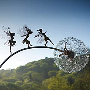 Fairy Dandelion Sculpture Garden Patio Lawn Yard Decoration,Fairies Dancing with Dandelions Metal Art Sculpture Simulation Plant Garden Decor (3 Fairies)